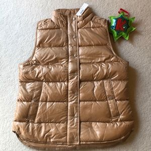 Shiny Puffer Vest in Saddle